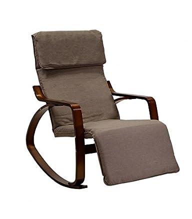 Sedia a dondolo regolabile in legno e tessuto imbottito - crema