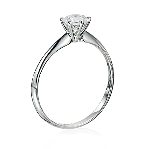 Certified, Round Cut, Solitaire Diamond Ring in 14K Gold / White (1/3 ct, G Color, SI3 Clarity)