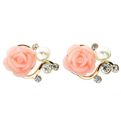 Rbenxia Girl Sweet Rose Rhinestone Pearl Eardrop Earring Stud Peach