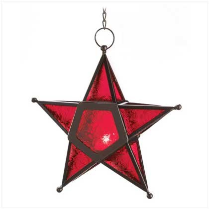 Red Glass Star Lantern Hanging Candle Holder Christmas