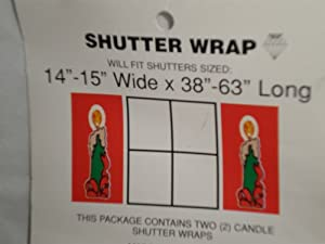 Candle Christmas Holiday Shutter Wrap, Set of 2