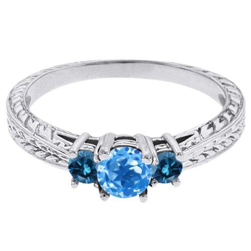 0.57 Ct Round Swiss Blue Topaz Blue Diamond 18K White Gold 3-Stone Ring