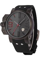 SHARK Army Military Red 3D Dial Black Men's Sport Silicone Quartz Wrist Watch SH172