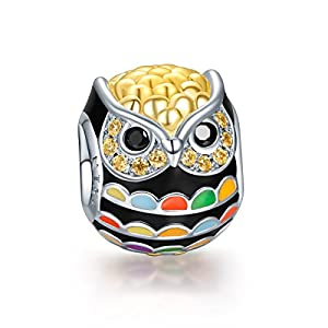 NinaQueen 925 Sterling Silver Gold Plated Owl Charms with Zirconia, Fine Women Jewelry Fits Pandora Charms Bracelet, a great gift for Mom,Wife,Girlfriend,daughter and friends on Birthday, Anniversary, Valentines day, Graduations, Mother's Day, Thanksgiving Day and Christmas Day.