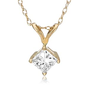 Diamond Solitaire Pendant - 14k Yellow Gold Princess Cut