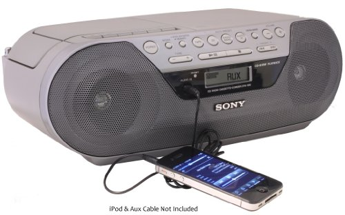 Sony Portable Digital Tuner AM/FM Radio Tape Cassette Recorder & CD Player Mega Bass Reflex Stereo Sound System with Program, Shuffle, Repeat, 20 Track RMS Programming, 30 Presets, LCD Display, Auto Scan Tuning & Audio in Jack to Connect any iPod, iPhone or MP3 Digital Audio Player