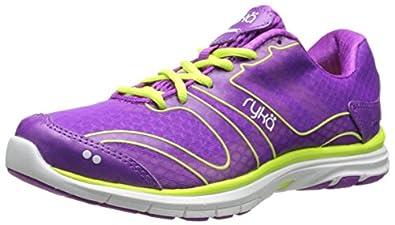 RYKA Women's Dynamic Cross-Training Shoe,Sugar Plum/Lime Shock/White,5 M US