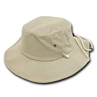 Decky Aussie Australian Style Outback Drawstring Bucket Hat (Khaki Tan