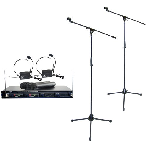 Pyle Mic And Stand Package - Pdwm4300 4 Mic Vhf Wireless Rack Mount Microphone System - X2 Pmks2 Tripod Microphone Stand W/Boom