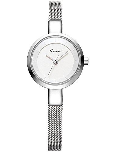 Alienwork Orologio quarzo Bracciale catena avvolgere quarzo elegante moda Metallo argento argento YH.KW6115S-02