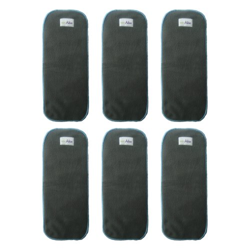 Ecoable Reusable 5 Layers Charcoal Bamboo Inserts Liners for Baby Cloth Diapers Pockets or Covers (Pack of 6) image