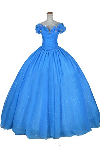 COSWE Women's Deluxe Blue Cinderella Princess Ball Gown Prom Costume Dress