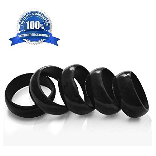 Silicone wedding ring wedding band pack gloss black sizes 8 9 10 11