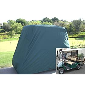 Deluxe 4 Passenger Golf Cart Cover, Fits E Z GO, Club Car and Yamaha G model - Green