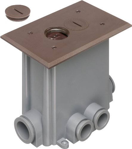 Arlington Flbc101Br-1 Floor Electrical Box Kit With Outlet And Plate And Threaded Plugs For New Concrete, 1-Gang, Brown, 1-Pack
