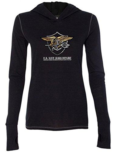 Ladies Us Navy Seal Devgru Military Black Tri Blend Hoodie 2Xl