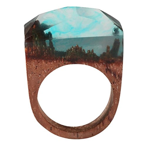 Handmade Natural Red Balau Wood Rings Fantastic Mini Forest Worlds Inside Rings for Unisex Adult (Balau Wood compare prices)