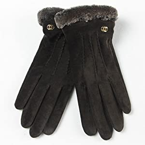 Warmen Lady Geniune Pigskin Suede Leather Winter Warm Gloves Long Fleece Lining (M, Black)