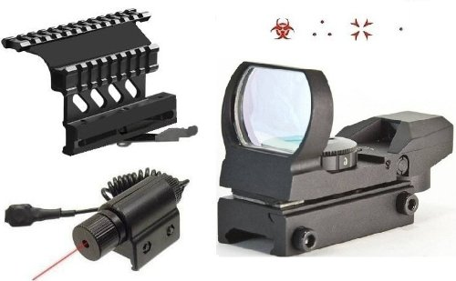 """Ultimate Arms Gear Tactical Combo Combination Package Kit Set Includes - Lightweight Cut Edition """"Qd"""" Quick Detach Tactical Ak47 Ak-47 Saiga Rifle/Shotgun 7.62X39 Side Plate Double Weaver-Picatinny Rail Scope-Sight Mount + 4 Reticle Red Special Battle Edi"""