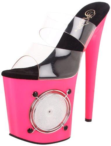 High-Heels-Pantoletten: Pleaser Extrem Plateau High Heels LIGHTNING-802UV - Klar/Neon Pink 37,5 EU