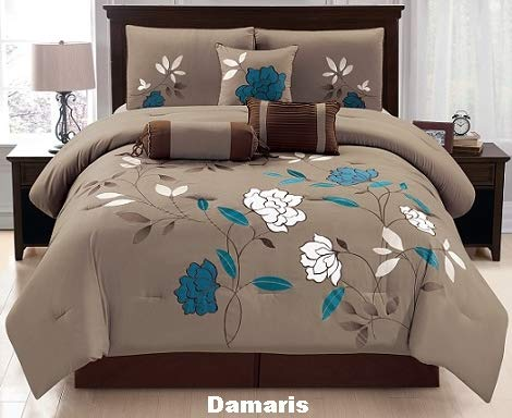 Unique Home 7 Pieces Bedding Comforter Set Shades of Mocha Color with Abstract Spiral with Pillow Sham Cushion Bed Skirt Calking