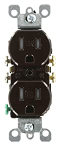 15 Amp, 125 Volt, Tamper Resistant, Duplex Receptacle, Residential Grade, Grounding, Brown, T5320