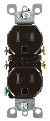 15 Amp 125 Volt, Tamper Resistant, Duplex Receptacle, Residential Grade, Grounding, Brown/Almond/Black/Ivory/Light Almond/White, T5320