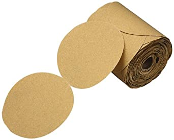 "3M  Stikit  Gold Paper Disc Roll 216U, Paper, PSA Attachment, Aluminum Oxide, 5"" Diameter, P180 Grit, Gold (Pack of 1)"