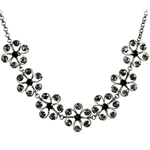 Chaomingzhen Vintage Black Flower Choker Necklace Women Crystal White Gold Plated