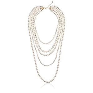 Faux Cream Pearl Gold-Tone Multi-Strand Necklace, 34