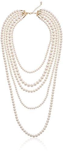 Faux Cream Pearl Gold-Tone Multi-Strand Necklace, 34