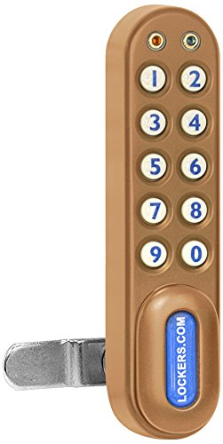 Salsbury Industries 22290Gld Electronic Lock Factory Installed On Extra Wide Designer Wood Locker Door, Gold front-521814