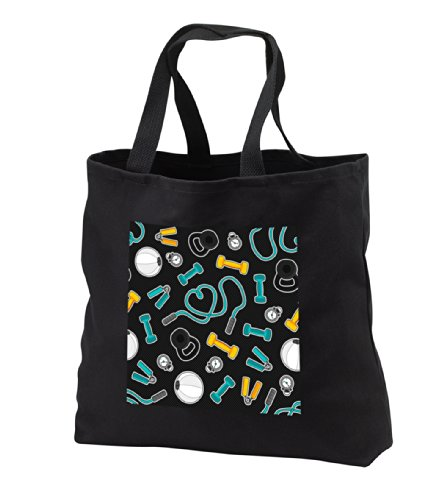 tb_185463_1 Janna Salak Designs Occupational Gifts - Fitness Love Personal Trainer Pattern Grey - Tote Bags - Black Tote Bag 14w x 14h x 3d