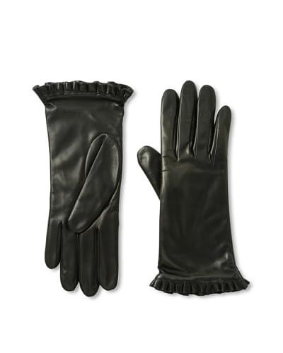 Portolano Women's Ruffle Leather Gloves  [Black]