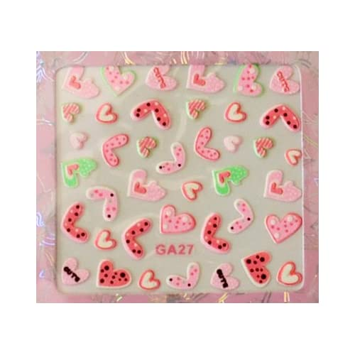 Cute PINK Hearts Colorful Nail Art Sticker