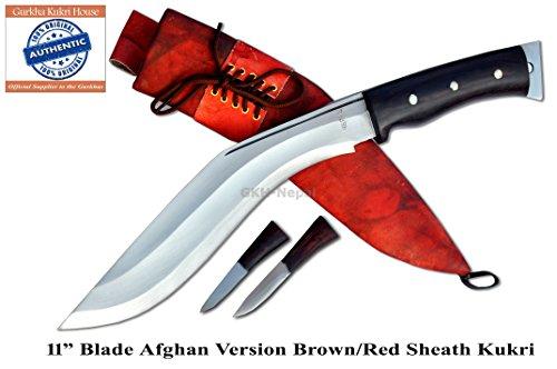 "Authentic Gurkha Kukri Knife - 11"" Blade Afghan AEOF Kukri Brown Sheath from Gurkha Kukri House- Handmade in Nepal by"