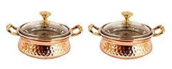 IndianArtVilla 3.0 X 5.0 X 2.0 Handmade High Quality Stainless Steel Copper Casserole Dish Serving Indian Food Daal Curry Set of 2 Handi Bowl With Glass Tumbler Lid Capacity 400 ML for use RestaurantGift Item