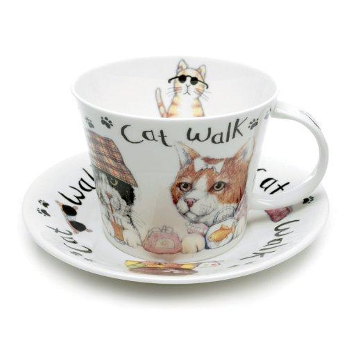 Roy Kirkham Animal Fashion Tasse et soucoupe pour petit déjeuner Motif chat