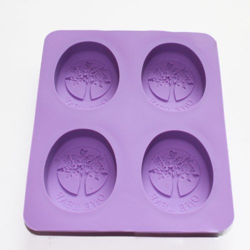 Allforhome 4 Cavity Tree Of Life One Leaf Soap Oval Silicone Soap Diy Mold Handmade Soap Making Moulds