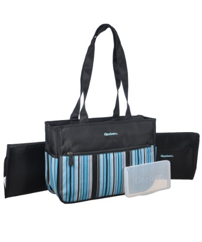 Gerber Boys Stripe 4pc Diaper Tote - 1