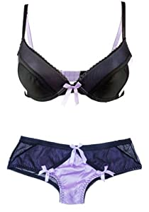 Satin and Mesh Bra and Panty Set