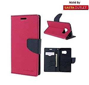 Samsung Galaxy J1 Ace Mercury Flip Wallet Diary Card Case Cover (Pink) By Wellcare