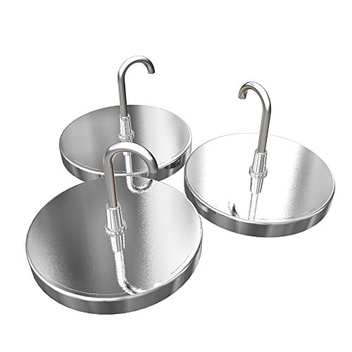Kelley General Chrome Plated Magnetic Hooks With 20LB Strength Capacity Silver Magnets With Hooks 2.
