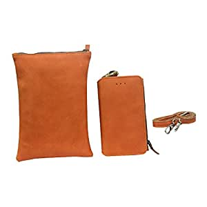 Jo Jo A7 Zara Sr Nillofer Leather Wallet sling Bag clutch Pouch Mobile Phone Case Cover For Samsung Galaxy Note 5 Dual Sim (64GB) Orange Tan