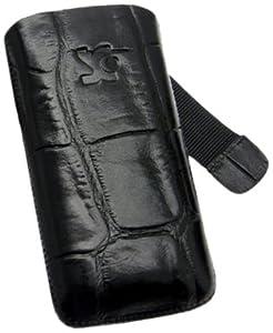 Suncase Ledertasche mit Rückzugsfunktion für das Samsung Galaxy S i9000/ Plus i9001 in croco-schwarz