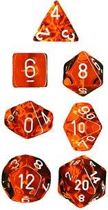 CHESSEX TRPGダイス/サイコロ Translucent Polyhedral(多面体) Orange w/white 7個セット