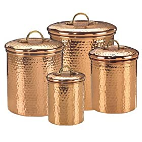 Old Dutch International Solid Copper Hammered Canisters Set