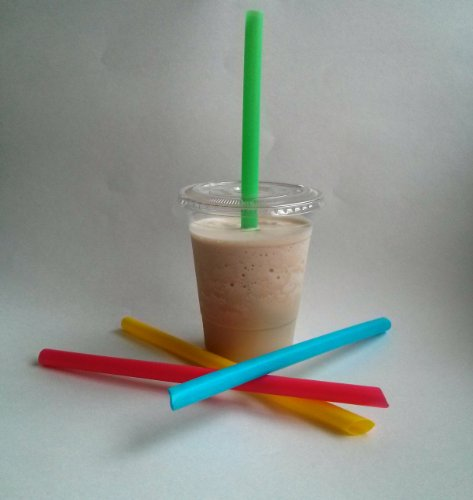 "Hueys 50 Sets 16 Oz Plastic Clear Cups With Flat Lids And Straws!!! For Iced Coffee Bubble Boba Tea Smoothie With 9"" By 10Mm Fat Straws!!! Disposable Units"