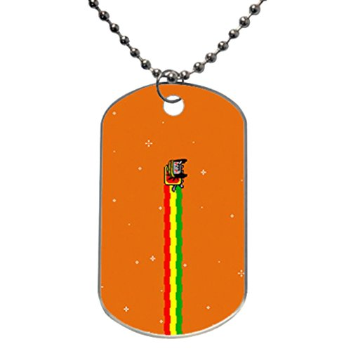 Nyan Cat Custom Unique Aluminum Oval Dog Tag Id Pendant Necklace Ball Chain