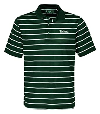 Buy NCAA Mens Tulane Green Wave Feed Stripe Polo (Hunter White, X-Large) by Oxford